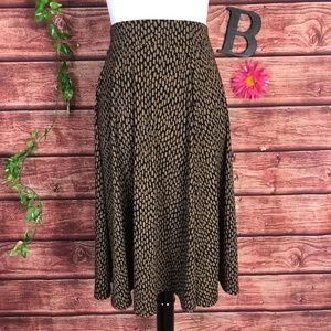 Lands End Skirt M 10 12 Brown Black Animal Slinky